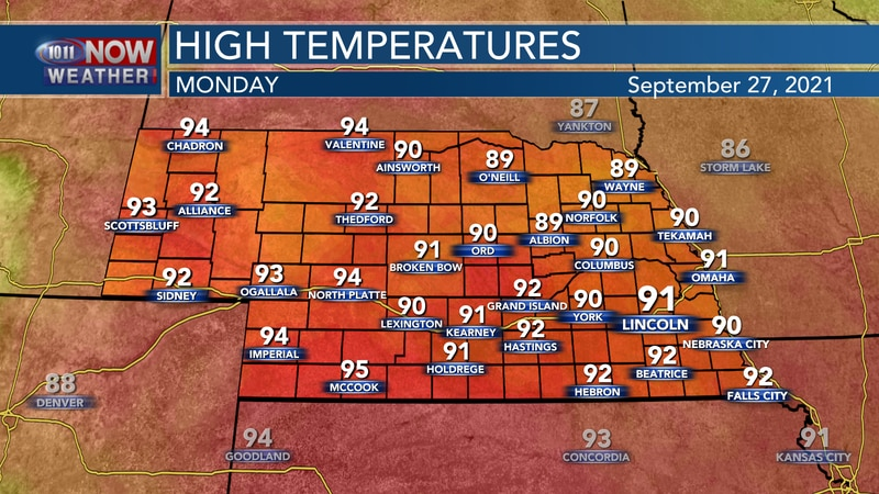 Temperatures will be well above average on Monday with highs in the upper 80s to low 90s.