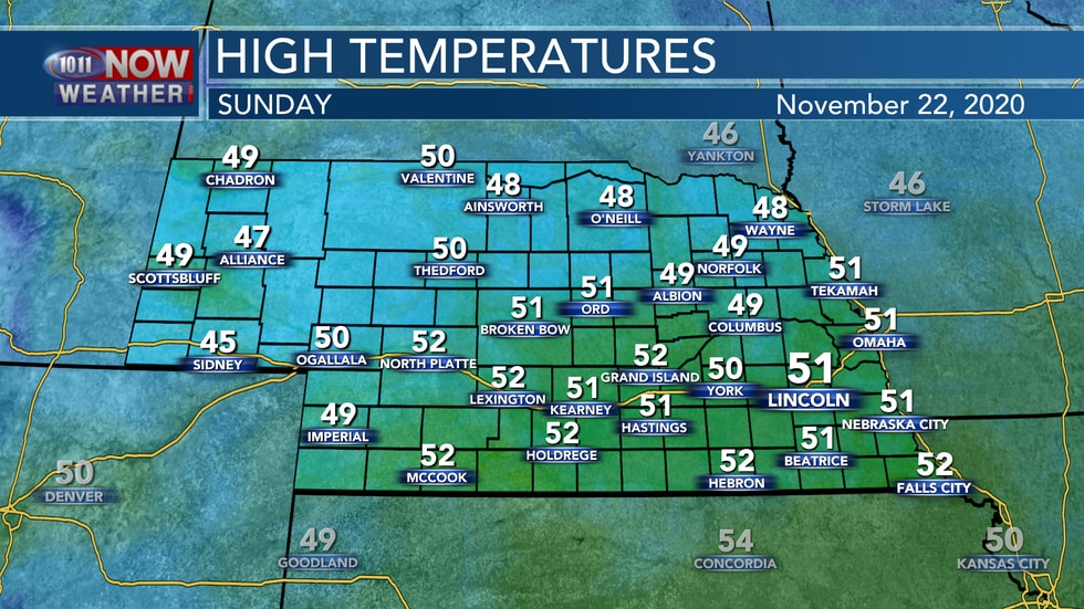 Temperatures likely reach the upper 40s to low 50s again on Sunday with mainly sunny skies.