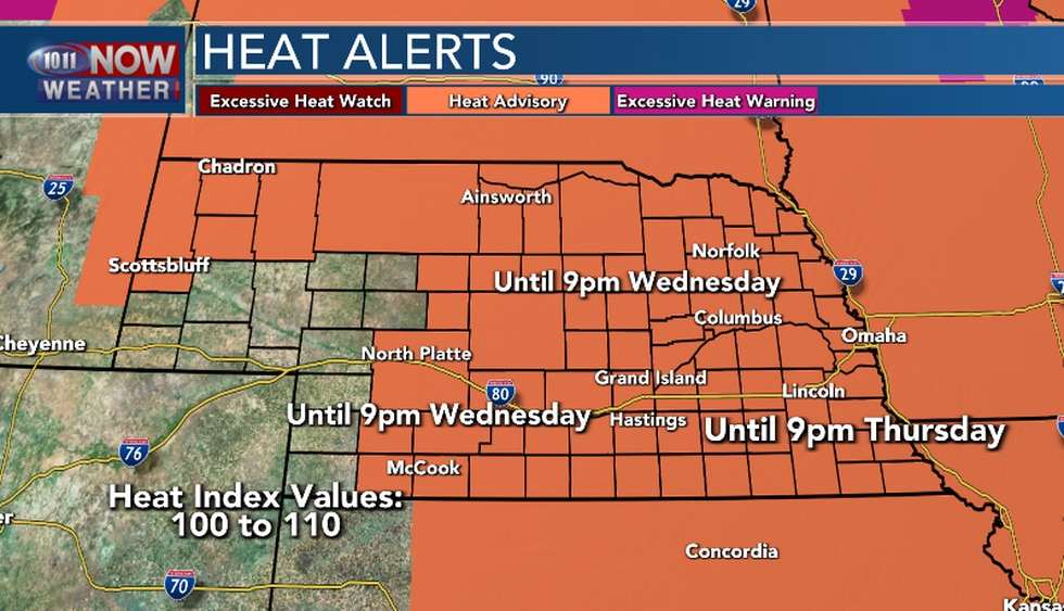 Heat Advisory in effect for much of the area through Wednesday evening. Southeast Nebraska,...