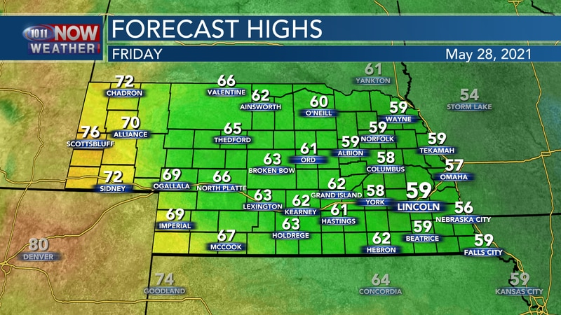 Temperatures remain well below average on Friday with highs in the upper 50s to upper 60s for...