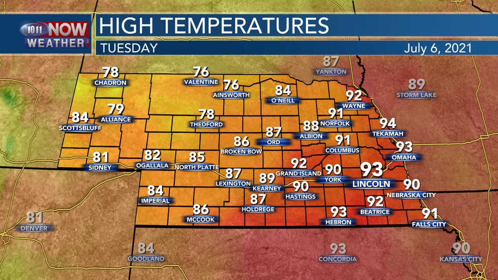 Temperatures will range from the upper 70s to the low 90s across the state as a cold front...