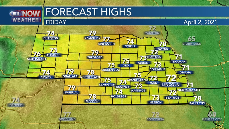 Temperatures are forecast to reach the low 70s to near 80° on Friday.