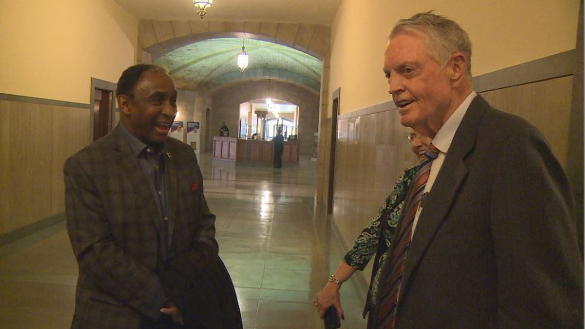 Johnny Rodgers and Tom Osborne were at a hearing Monday opposing a bill to legalize sports gambling in Nebraska