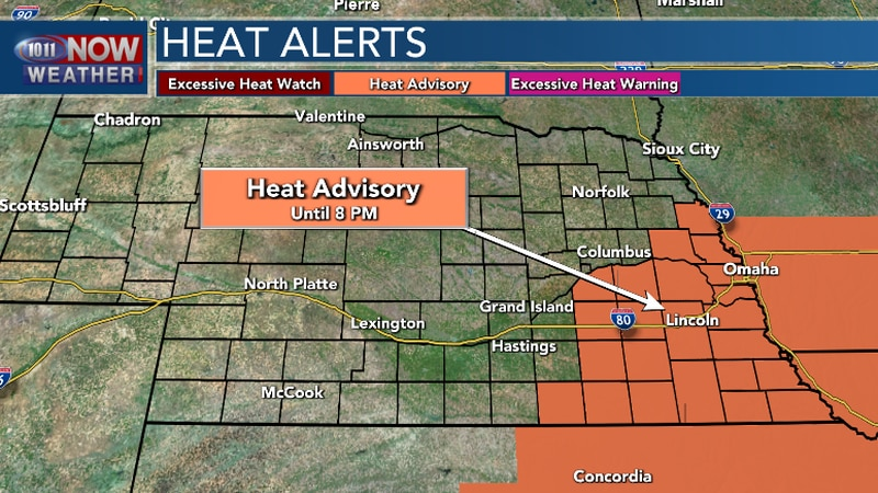 Heat indices will range from 100 to 108.