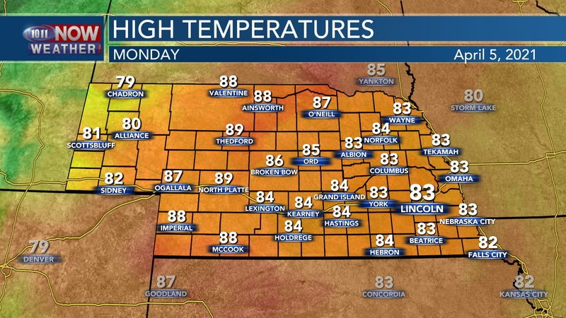Very warm weather is expected again on Monday with highs in the 80s to near 90°.