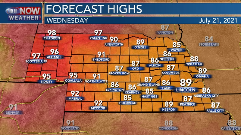 Hot temperatures expected in far western Nebraska and seasonal temperatures in central and...