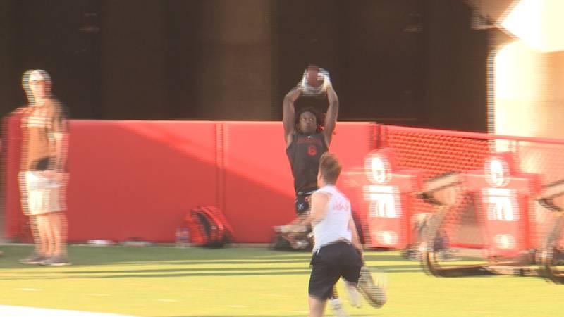 Beni Ngoyi catches a ball near the goal line during Nebraska's Friday Night Lights camp.