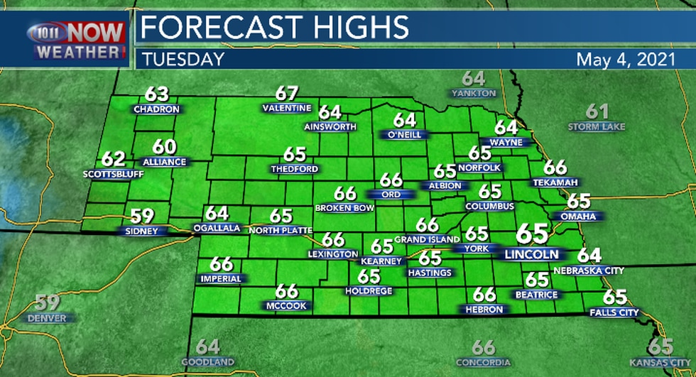 High temperatures Tuesday will still be a bit below the long term average.