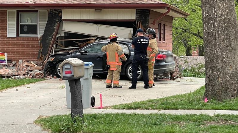 A vehicle crashed into the side of a house in Lincoln on Wednesday.