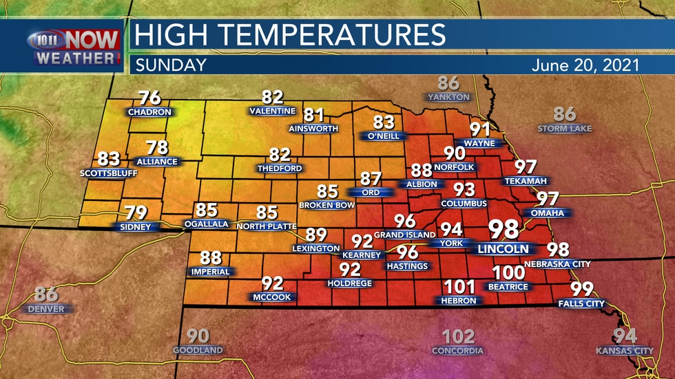 Temperatures will peak again on Sunday with highs in the mid to upper 90s and lower 100s across...