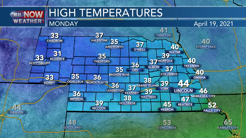 It will be a cold start to the week on Monday with daytime highs in the 30s and 40s with breezy...