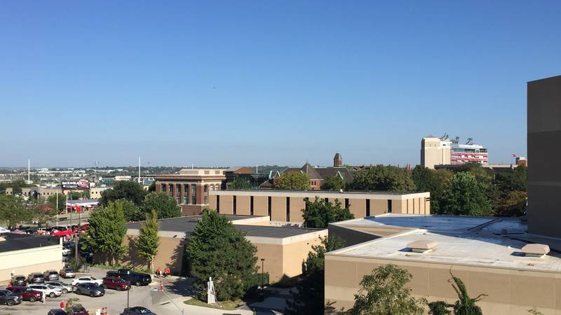 A view of UNL's City Campus and a portion of Memorial Stadium from the Q Place Parking Garage.