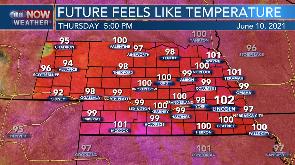 Feel like temperatures Thursday afternoon.