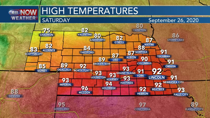 Near record highs are expected on Saturday with temperatures into the upper 80s and lower 90s...