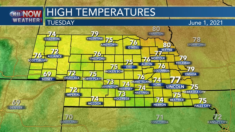 Pleasant temperatures are expected for Tuesday with highs in the 70s and a mix of sun and clouds.