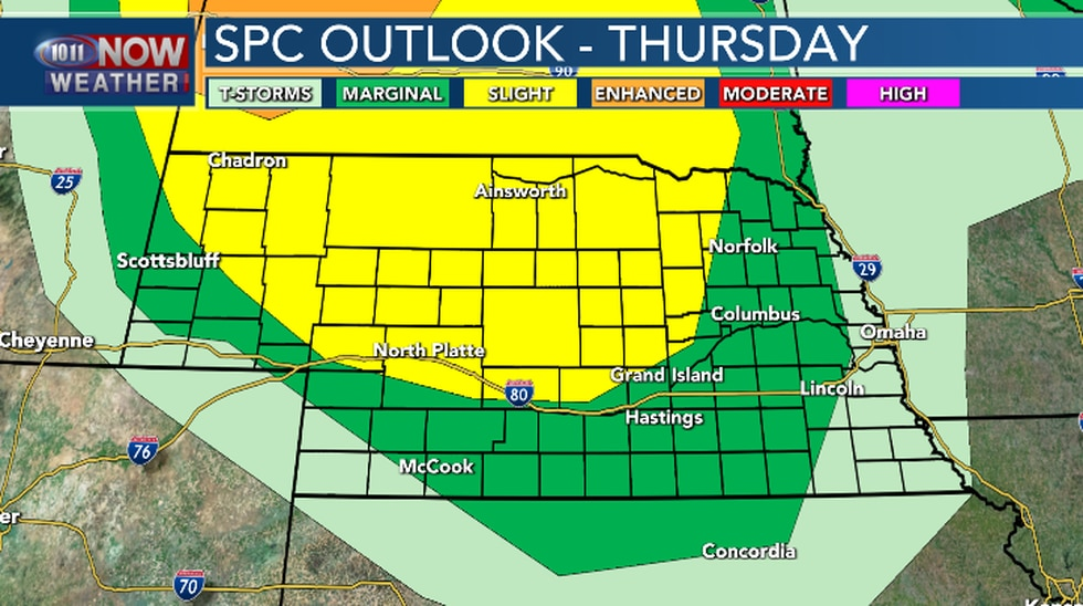 There will be a chance for a few isolated severe thunderstorms late Thursday night in the...