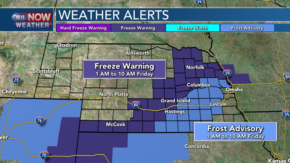 Chilly temperatures are expected Friday morning as lows fall into the upper 20s to mid 30s. Frost Advisories and Freeze Warnings are in place from 1 AM to 10 AM Friday.