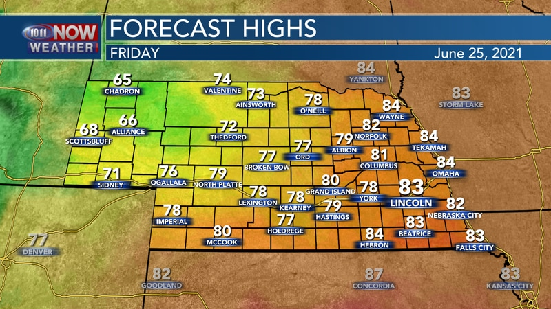 Temperatures will range from the mid 60s to the low 80s by Friday afternoon.
