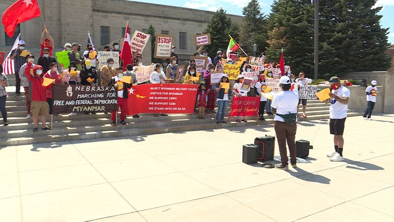 Nebraskans protest recent events in Myanmar