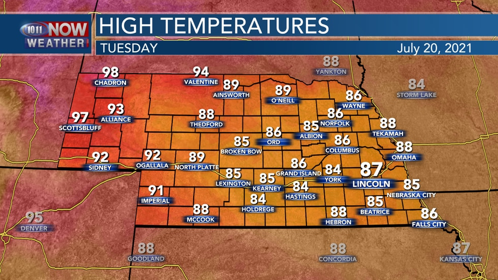 Temperatures on Tuesday should begin to trend a bit warmer with highs in the mid to upper 80s...