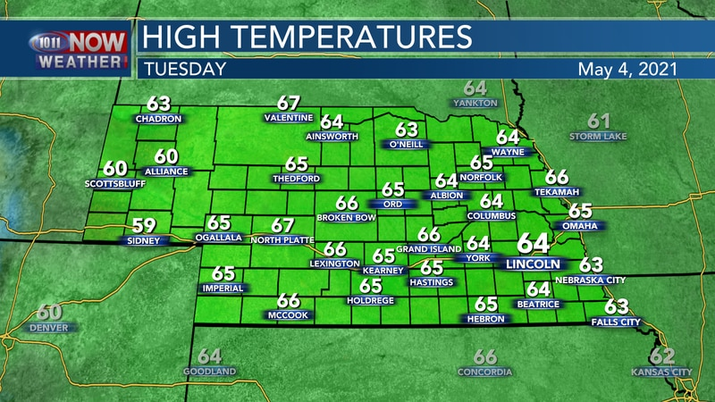 Cooler weather is expected again on Tuesday with highs in the 60s.