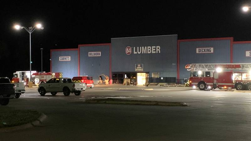 LFR outside 84 Lumber Wednesday evening after a table saw caught fire inside the business.