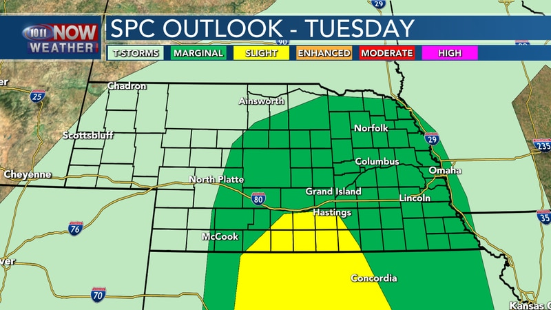 Isolated to scattered severe storms are possible Tuesday night across the eastern half of the...