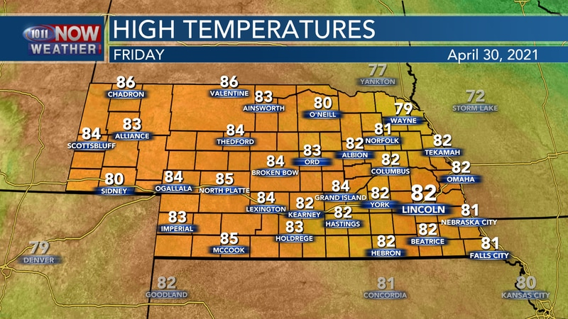 Temperatures to finish April should reach into the lower and middle 80s across the state.