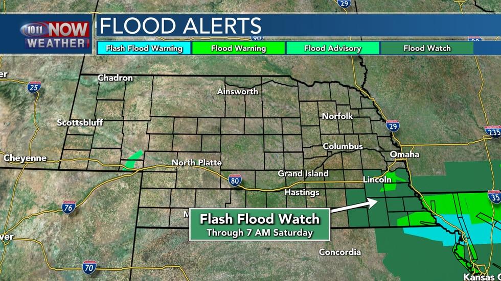 A Flash Flood Watch is in place through 7 AM Saturday morning across southeastern Nebraska.