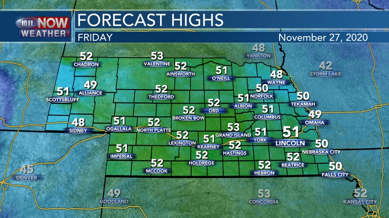 Mild temperatures are expected for Friday with highs in the upper 40s to low 50s with sunny...