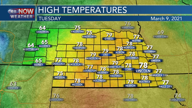 Highs will spike into the mid and upper 70s on Tuesday across much of the state.