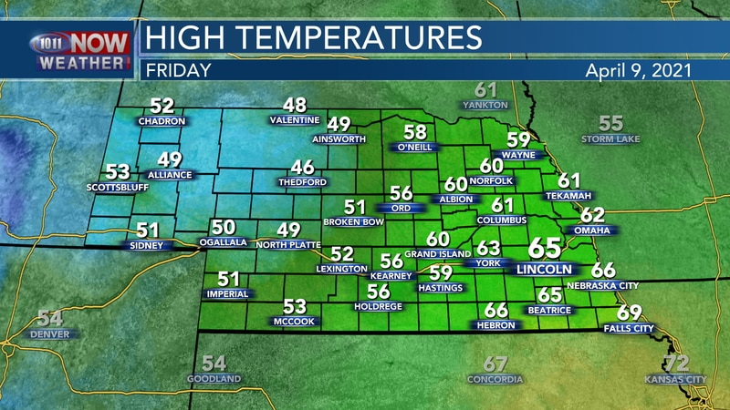 Temperatures will reach the 40s, 50s, and 60s on Friday.