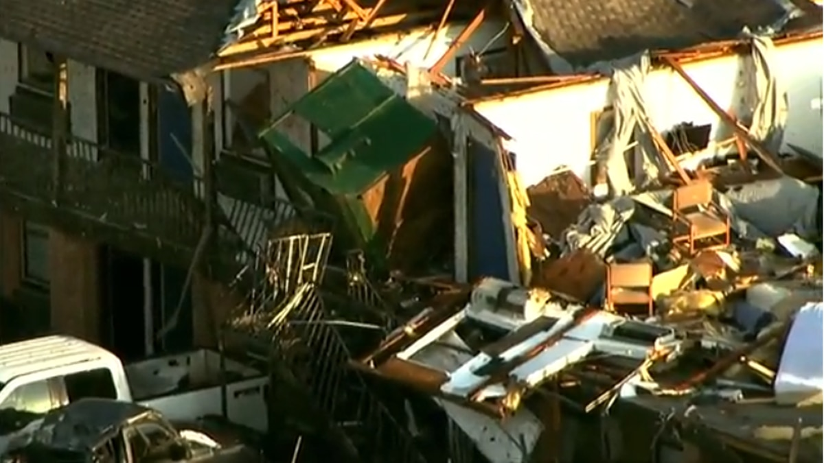 At least two deaths were reported in El Reno, Okla., after a possible tornado touched down, destroying a motel and sweeping through a mobile home park. (Source: WOWT)