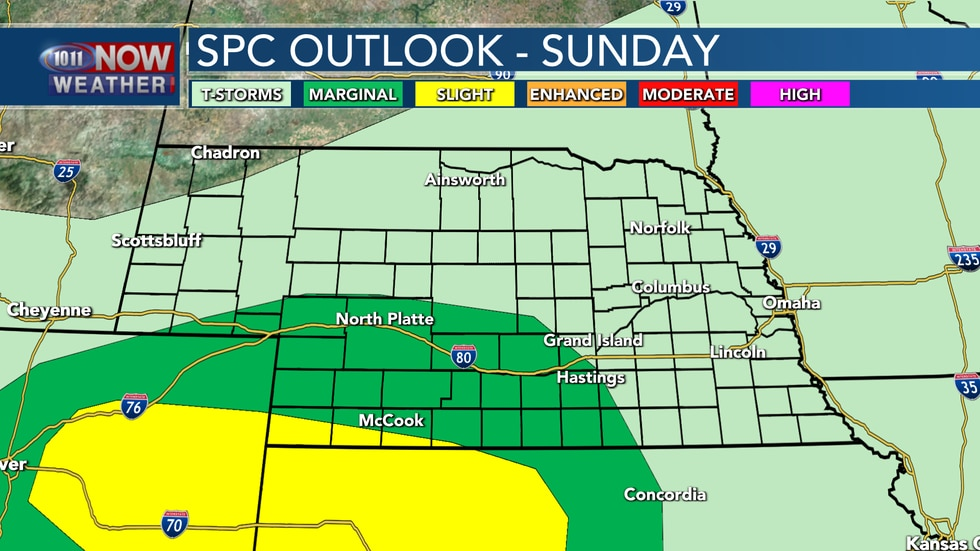 Isolated severe storms look to be possible across parts of southwestern Nebraska on Sunday...