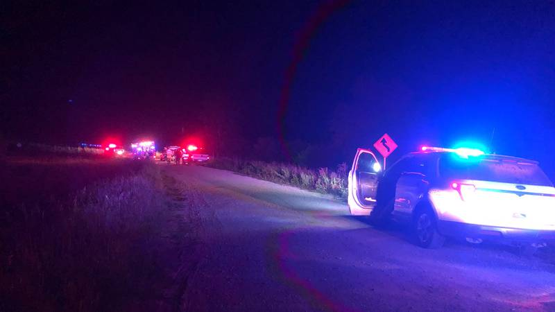 The scene of a rollover crash near 202nd Street & Waverly Road in rural Northwestern Cass County.