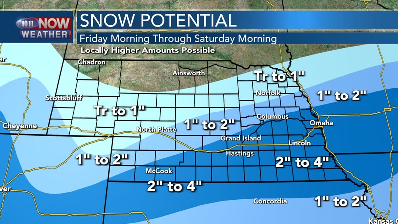 """Areas of light snow are expected Friday afternoon into early on Saturday with 2"""" to 4"""" of snow..."""