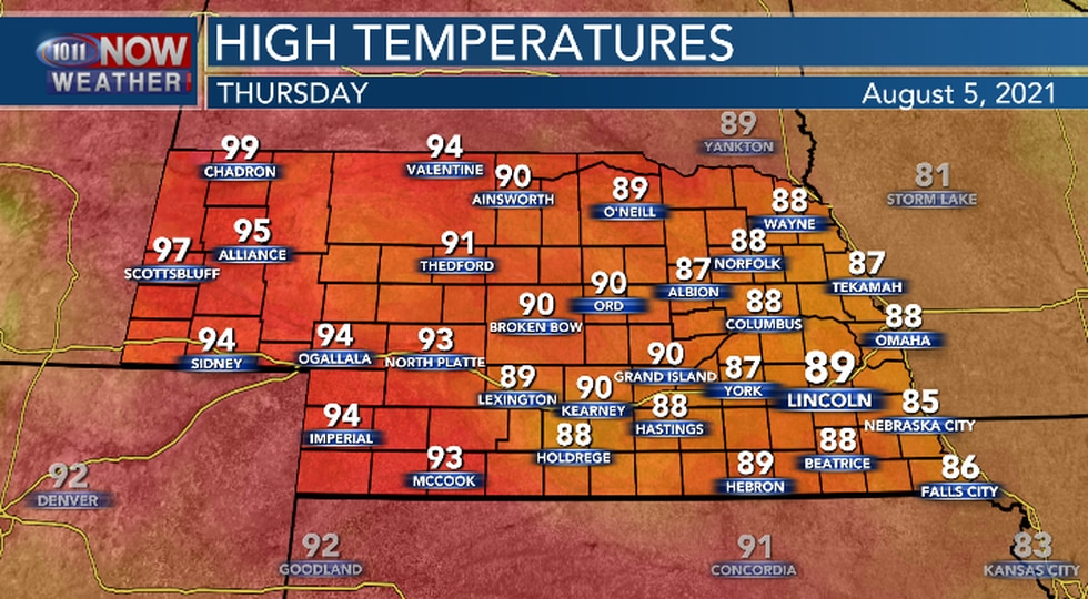 Upper 80s and lower 90s expected Thursday afternoon.