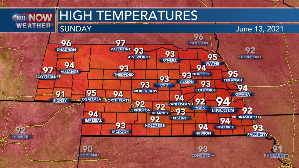 Temperatures should return to the lower and middle 90s with sunny skies on Sunday.
