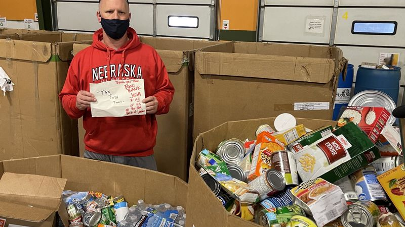 Food Bank collects nearly a ton of food donations.