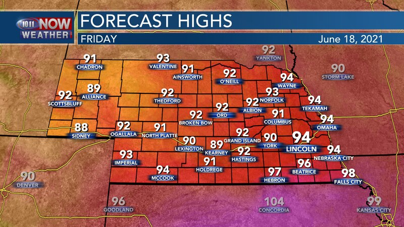 Temperatures on Friday should stay in the lower to middle 90s for most of the state with some...