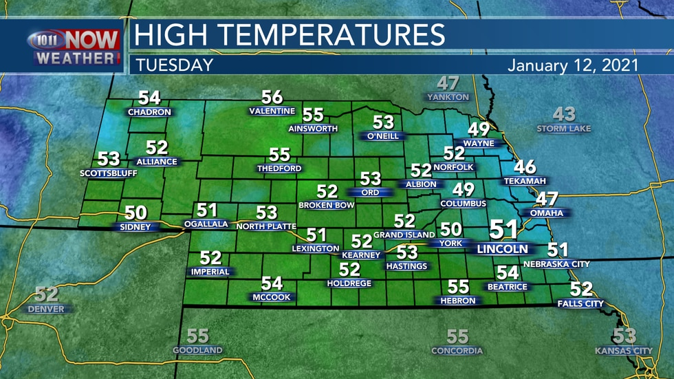 Even warmer weather is expected for Tuesday with highs in the lower to middle 50s.