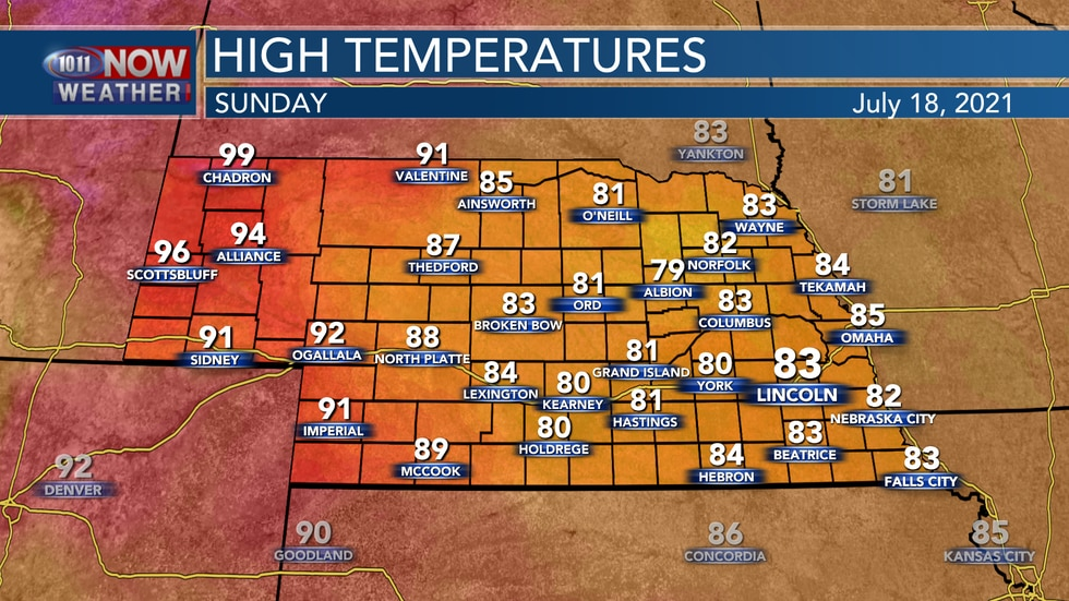 Temperatures will range from the low 80s to mid 90s on Sunday across the state.