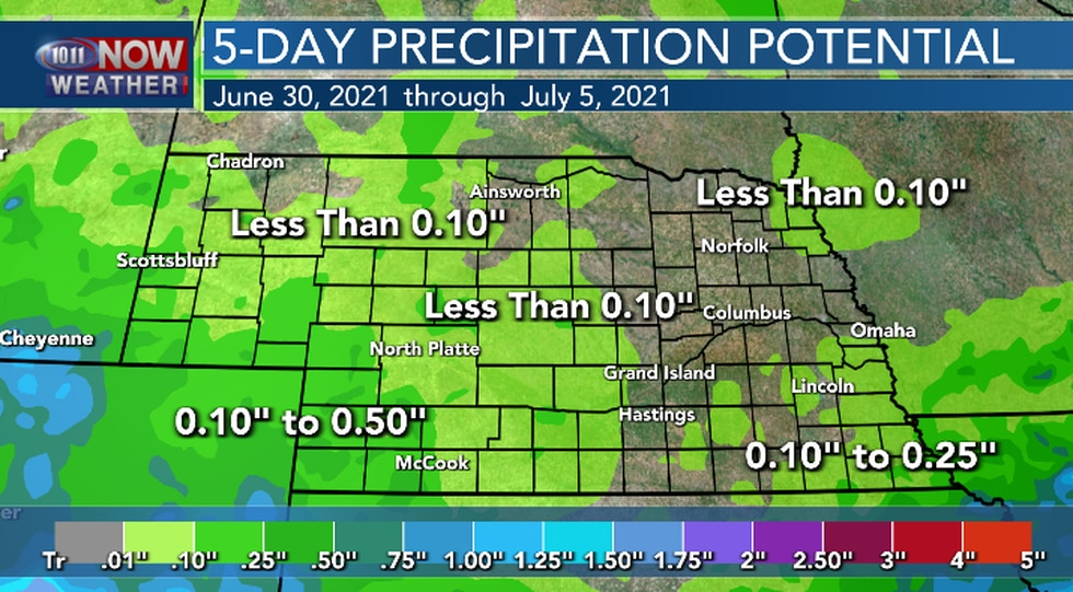 Most of Nebraska will see less than a quarter of an inch of rain over the next 5 days.