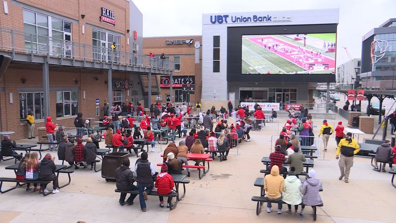 Dozens visit the Railyard for the first Husker game of the year.