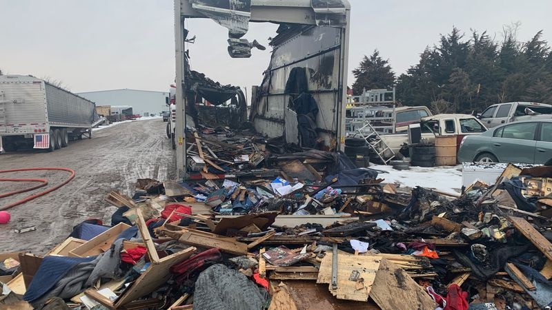 These are the contents of a moving truck that caught on fire last Wednesday. The family lost...