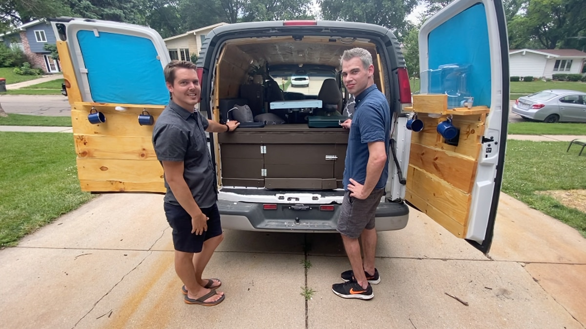 Coddy Macneill and Bryon Halsey convert this van into a living space as they plan to travel...