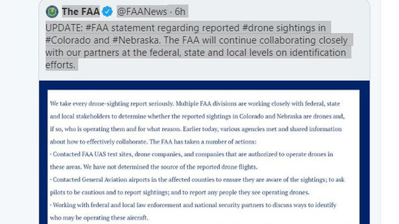 In a Tweet, the FAA announced it will continue to collaborate closely with their partners at...
