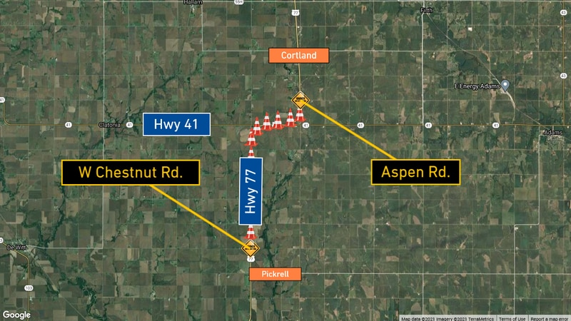 New road work on Highway 77 in Gage County.