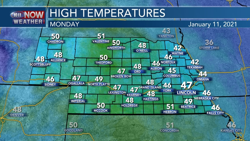 Mostly sunny and milder weather is expected on Monday with highs in the 40s to low 50s.