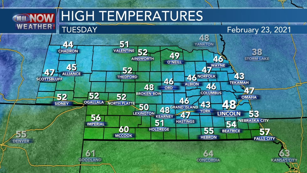 Tuesday looks to be the warmest day of the next week with afternoon highs reaching for the mid...